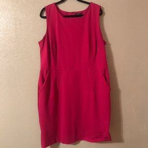 Raspberry Lands End sleeveless dress with pockets